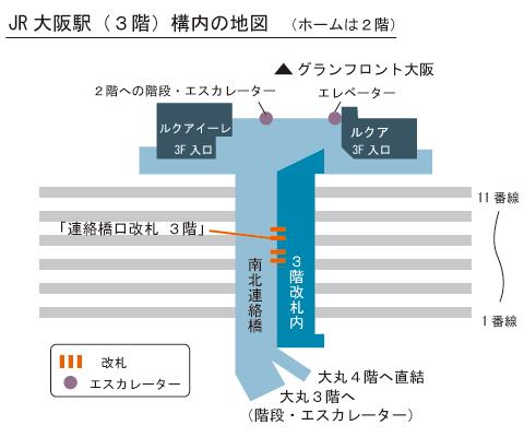 JR大阪駅3階の簡略した構内図